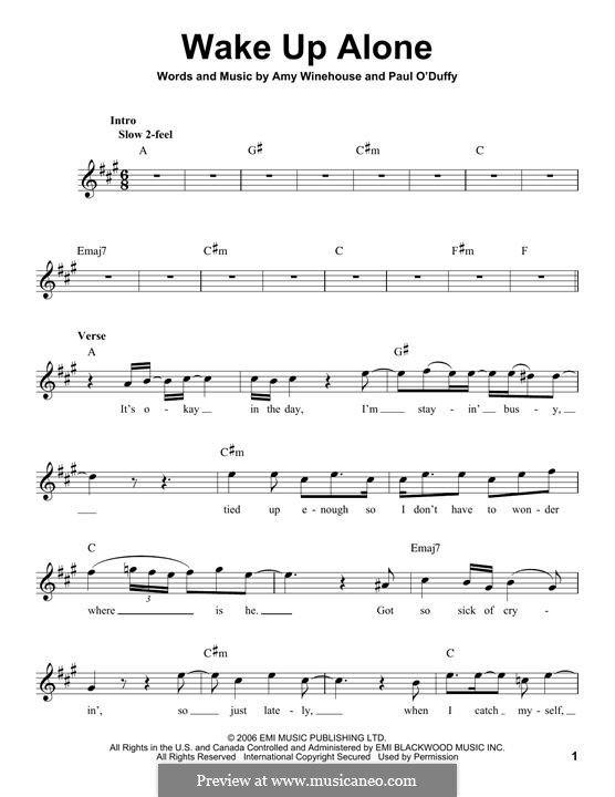Wake Up Alone: Melody line by Amy Winehouse, Paul Staveley O'Duffy