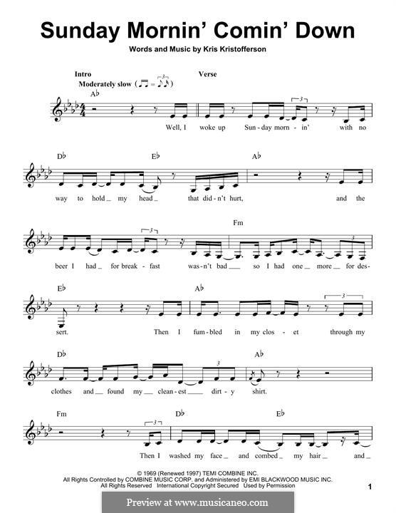 Sunday Mornin' Comin' Down: Melody line by Kris Kristofferson