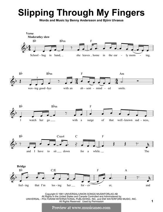 Slipping Through My Fingers (ABBA) by B. Andersson, B. Ulvaeus on ...