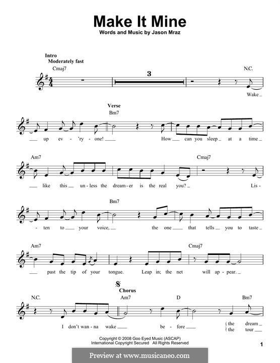 Make It Mine: Melody line by Jason Mraz
