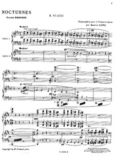 Three Nocturnes, L.91: No.1 Nuages, for Piano by Claude Debussy