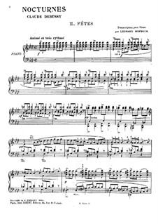 Three Nocturnes, L.91: No.2 Fêtes. Arrangement for piano by Claude Debussy