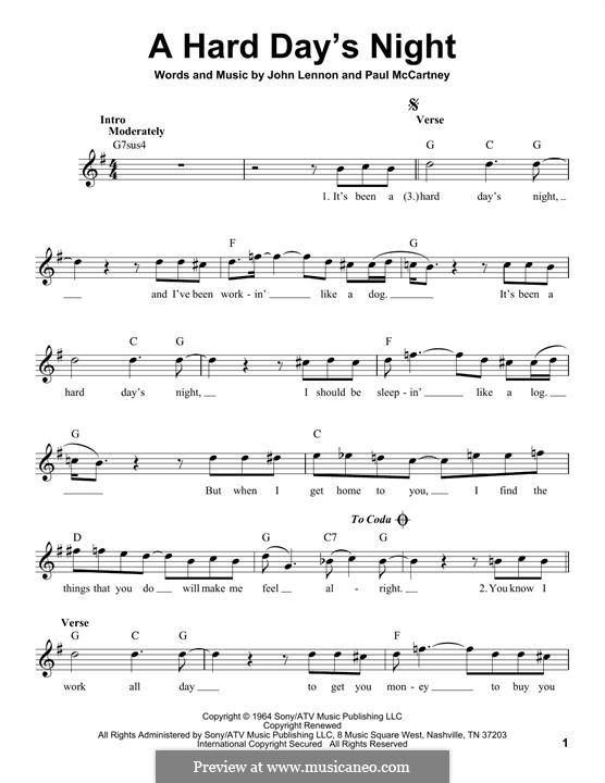 A Hard Day's Night (The Beatles): Melody line by John Lennon, Paul McCartney