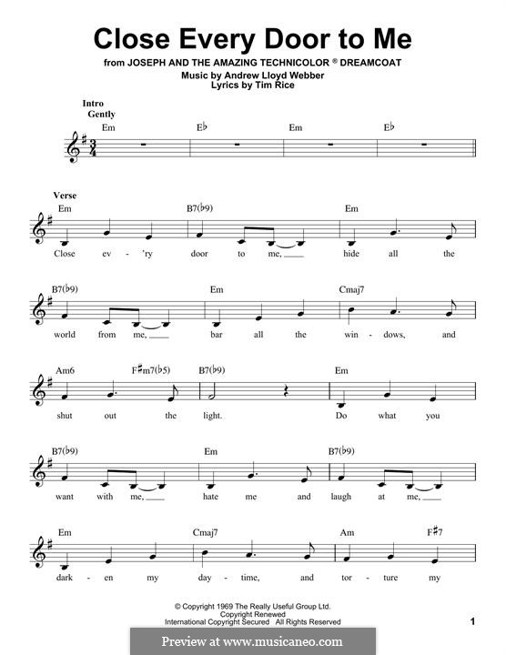 Close Every Door: Melody line by Andrew Lloyd Webber