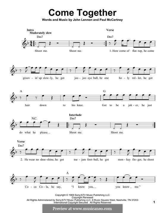 Come Together (The Beatles): Melody line by John Lennon, Paul McCartney