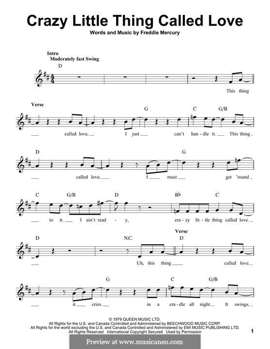 Crazy Little Thing Called Love (Queen): Melody line by Freddie Mercury