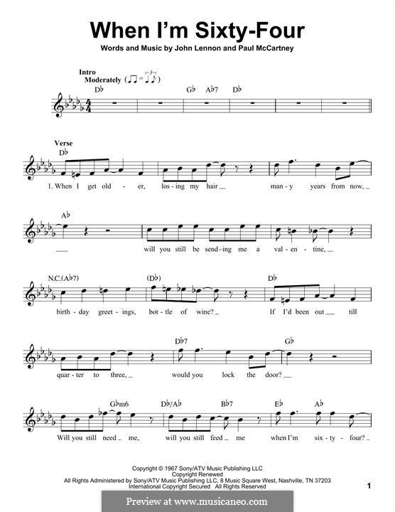 When I'm Sixty-Four (The Beatles): Melody line by John Lennon, Paul McCartney