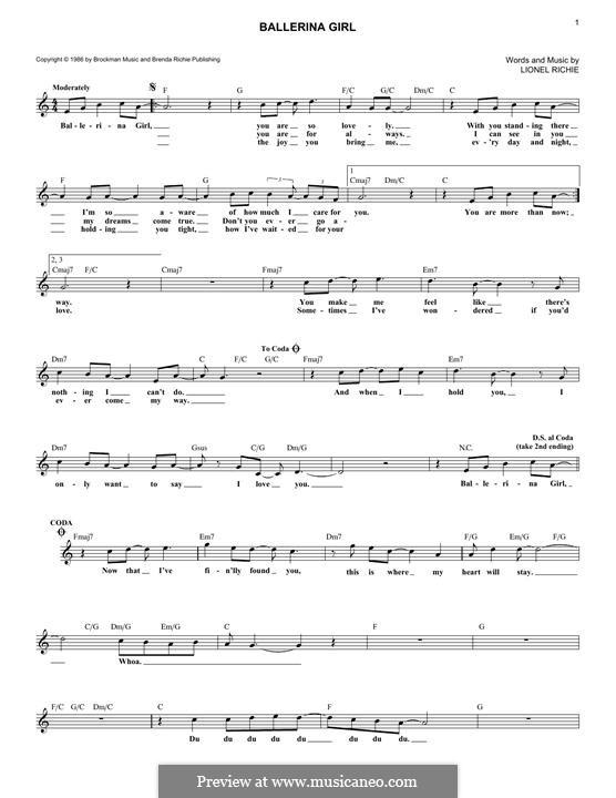 Ballerina Girl: Melody line by Lionel Richie