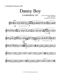 Danny Boy (Londonderry Air): For clarinet choir – contrabass part by folklore