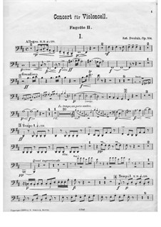 Concerto for Cello and Orchestra in B Minor, B.191 Op.104: Bassoon II part by Antonín Dvořák