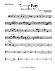 Danny Boy (Londonderry Air): For clarinet choir – bass clarinet part by folklore