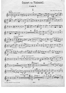 Concerto for Cello and Orchestra in B Minor, B.191 Op.104: Horn I part by Antonín Dvořák