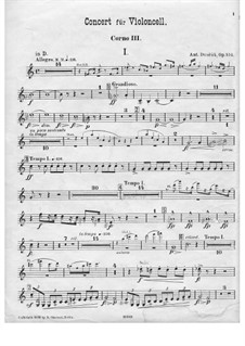 Concerto for Cello and Orchestra in B Minor, B.191 Op.104: Horn III part by Antonín Dvořák