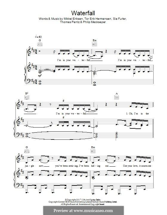 Waterfall (feat. Pink & Sia): For voice and piano (or guitar) by Mikkel Storleer Eriksen, Sia Furler, Diplo, Tor Erik Hermansen, Philip Meckseper