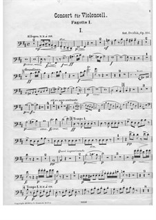 Concerto for Cello and Orchestra in B Minor, B.191 Op.104: Bassoon I part by Antonín Dvořák