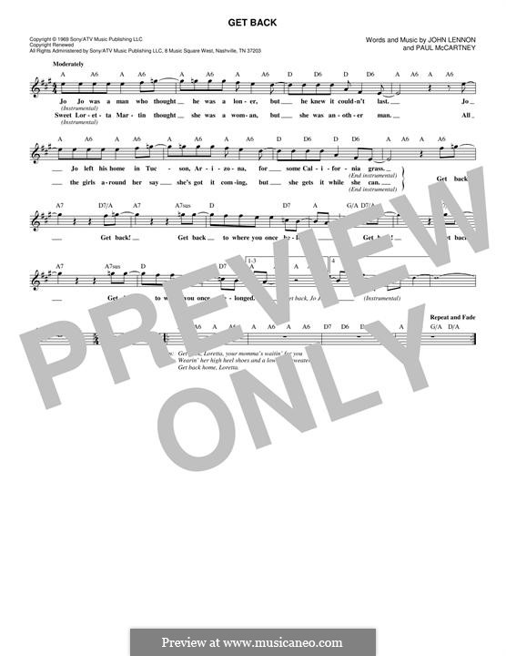 Get Back (The Beatles): Melody line by John Lennon, Paul McCartney