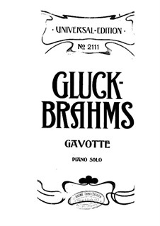 Gavotte: In A Major, for piano by Christoph Willibald Gluck