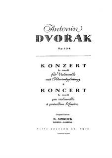 Concerto for Cello and Orchestra in B Minor, B.191 Op.104: Version for cello and piano by Antonín Dvořák