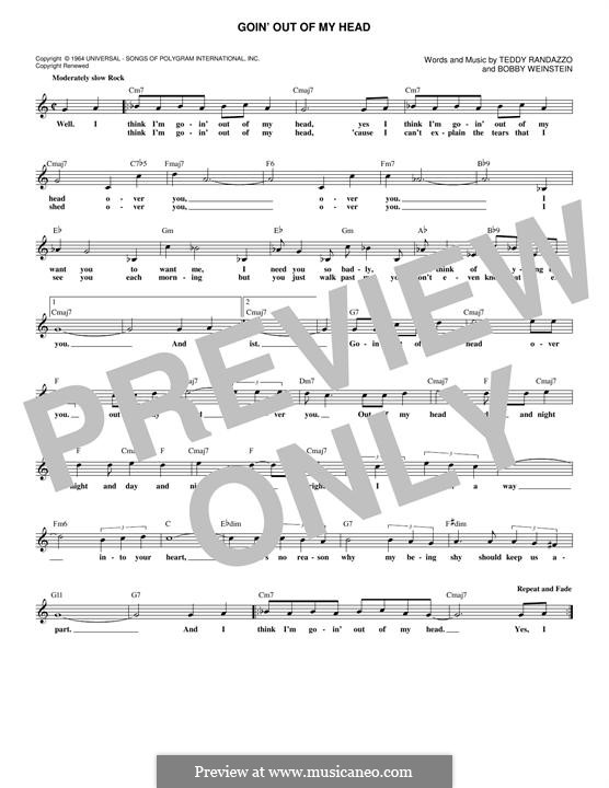 Goin' Out of My Head (Little Anthony & The Imperials): Melody line by Bobby Weinstein, Teddy Randazzo
