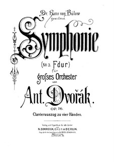 Symphony No.5 in F Major, B.54 Op.76: Version for piano four hands by Antonín Dvořák