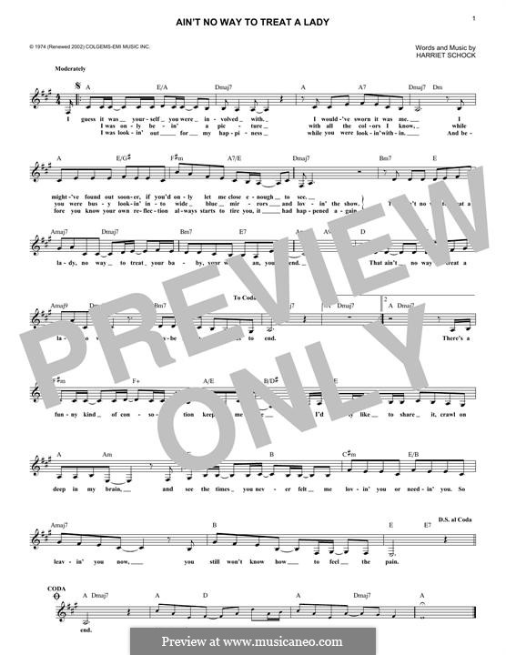 Ain't No Way to Treat a Lady (Helen Reddy): Melody line by Harriet Schock