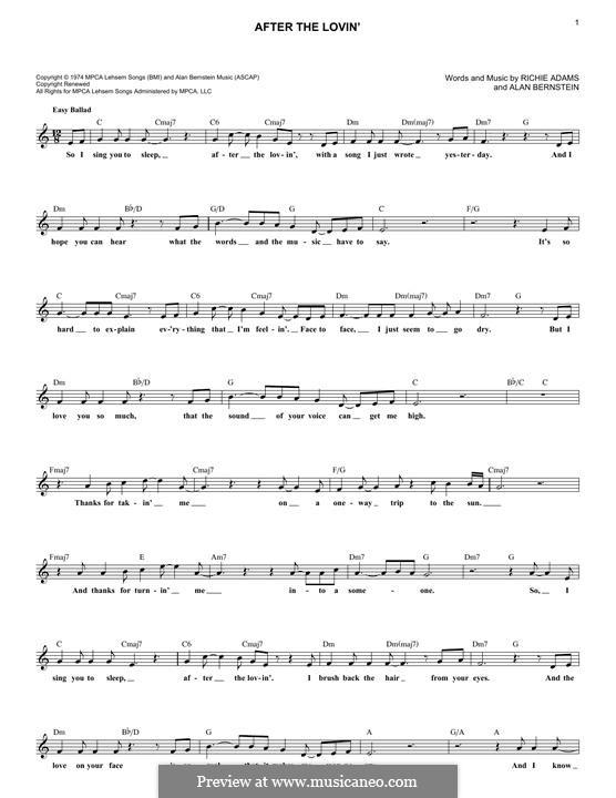 After the Lovin' (Engelbert Humperdinck): Melody line by Alan Bernstein, Richie Adams
