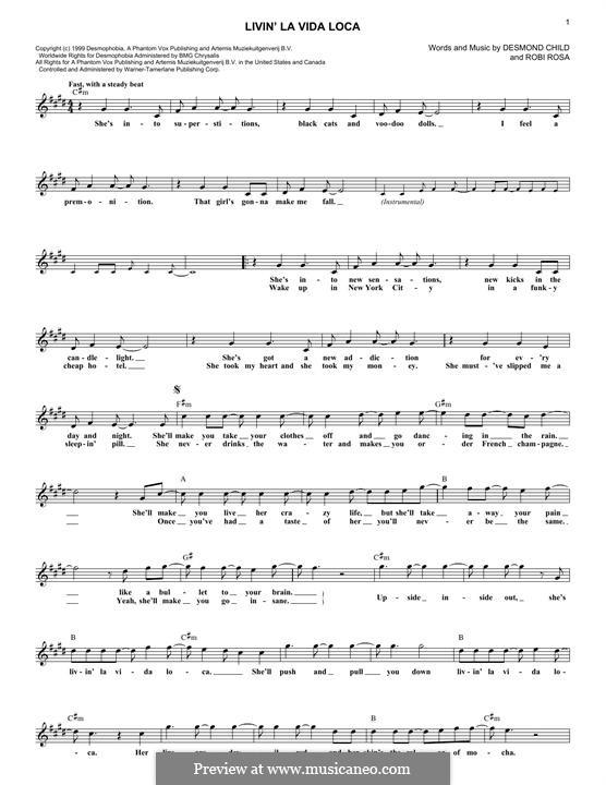 Livin' la vida loca (Ricky Martin): Melody line by Desmond Child, Robi Rosa