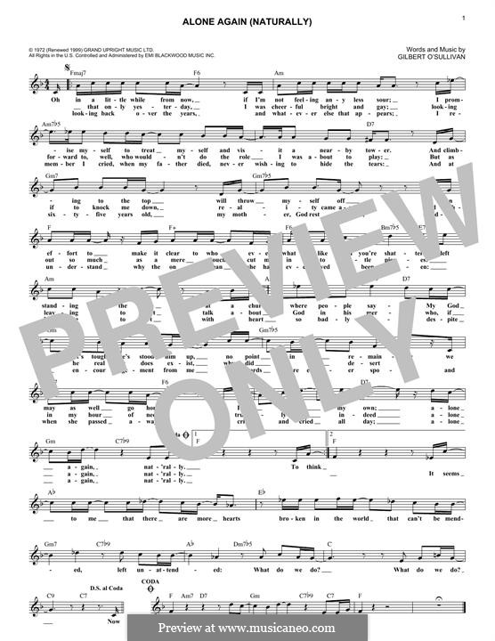 Alone Again Naturally By G Osullivan Sheet Music On Musicaneo