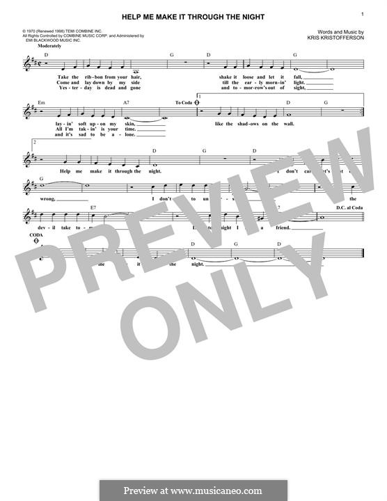 Help Me Make It Through the Night: Melody line by Kris Kristofferson