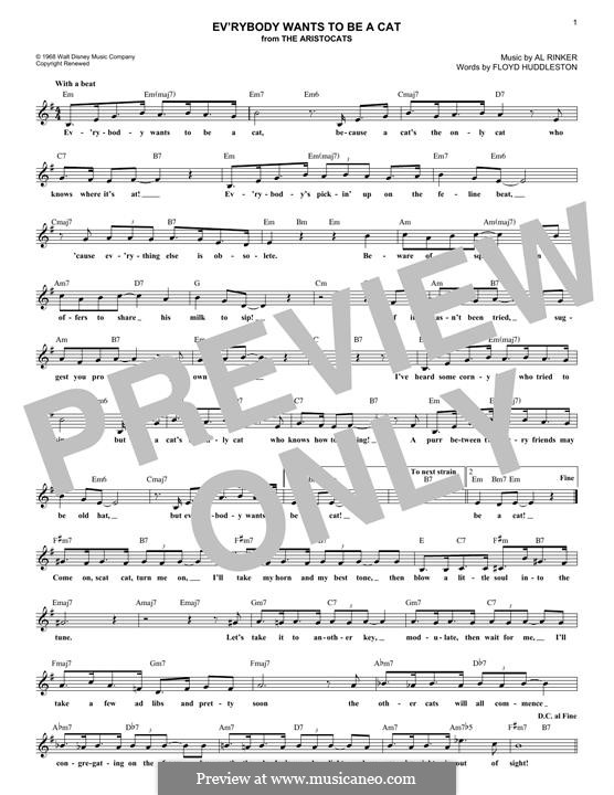 Ev'rybody Wants To Be a Cat (from Walt Disney's the Aristocats): Melody line by Al Rinker