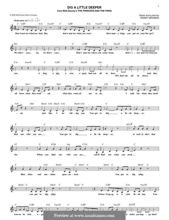 Dig a Little Deeper: Melody line by Randy Newman