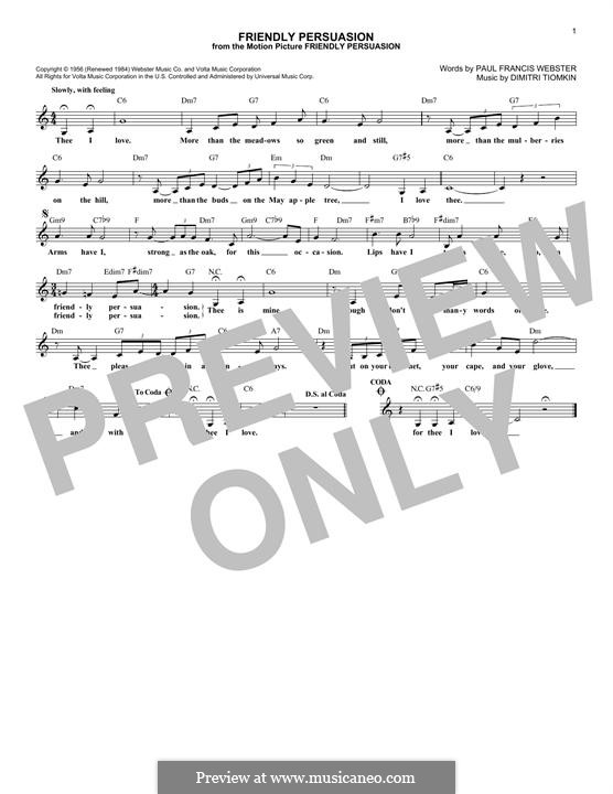 Friendly Persuasion (Pat Boone): Melody line by Dimitri Tiomkin, Paul Francis Webster