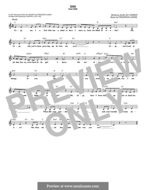 Gigi: Melody line by Frederick Loewe