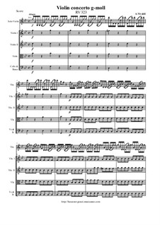 Concerto for Violin and Strings in G Minor, RV 323: Score and parts by Antonio Vivaldi