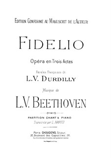 Complete Opera: Piano score with vocal parts by Ludwig van Beethoven