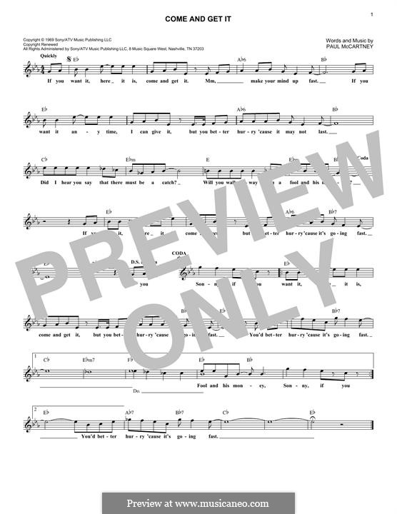 Come and Get It (Badfinger): Melody line by Paul McCartney