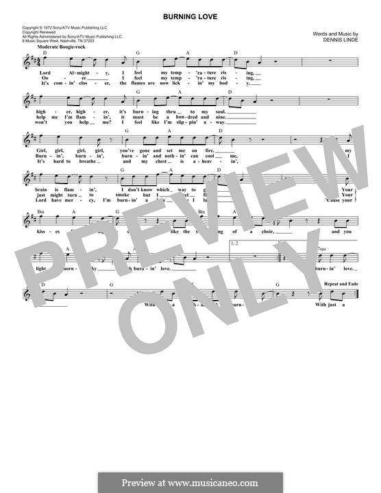 Burning Love Elvis Presley By D Linde Sheet Music On Musicaneo