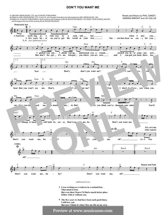 Don't You Want Me: Melody line by Adrian Wright, Jo Callis, Philip Oakey