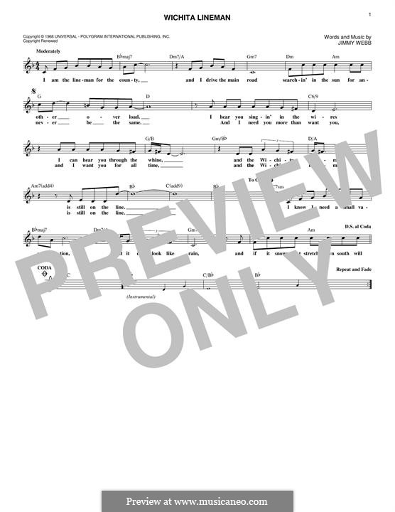 Wichita Lineman: Melody line by Jimmy Webb