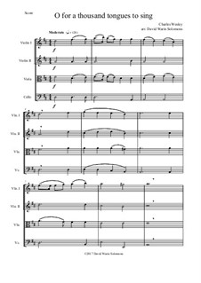 7 Songs of Glory for string quartet: O for a thousand tongues to sing by Robert Lowry, William Howard Doane, Charles Wesley, Jr., William Batchelder Bradbury, Charles Hutchinson Gabriel, Edwin Othello Excell, D. B. Towner