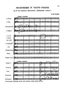 Sonata for Violin and Piano No.9 'Kreutzer', Op.47: Movement I (exposition), for orchestra by Ludwig van Beethoven