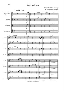 7 Songs of Glory for saxophone quartet: Just as I am by Robert Lowry, William Howard Doane, Charles Wesley, Jr., William Batchelder Bradbury, Charles Hutchinson Gabriel, Edwin Othello Excell, D. B. Towner