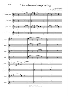 7 Songs of Glory for saxophone quartet: O for a thousand tongues to sing by Robert Lowry, William Howard Doane, Charles Wesley, Jr., William Batchelder Bradbury, Charles Hutchinson Gabriel, Edwin Othello Excell, D. B. Towner