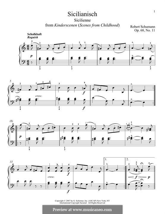 No.11 Sicilianisch (Sicilienne): For piano by Robert Schumann