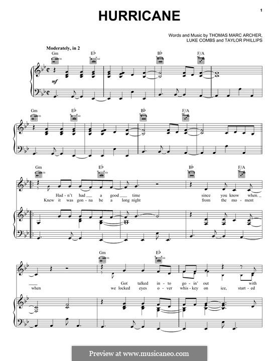 Hurricane: For voice and piano (or guitar) by Luke Combs, Taylor Phillips, Thomas Marc Archer