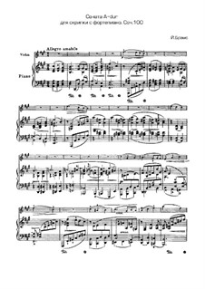Sonata for Violin and Piano No.2 in A Major, Op.100: Score, solo part by Johannes Brahms