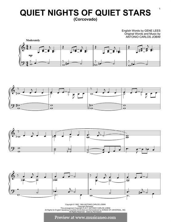 Corcovado (Quiet Nights of Quiet Stars): For piano by Antonio Carlos Jobim