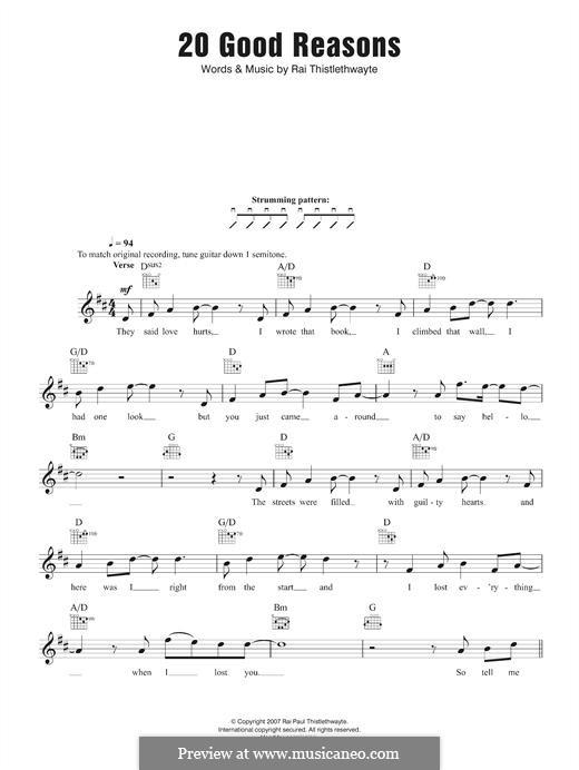 20 Good Reasons (Thirsty Merc): Melody line by Rai Thistelthwayte