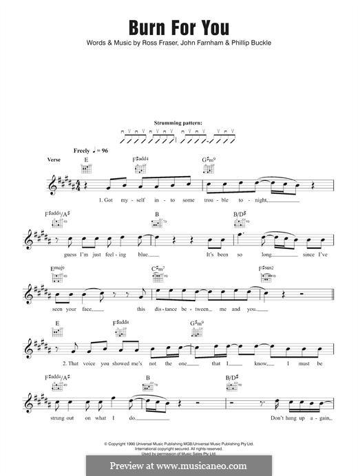 Burn for You (John Farnham): Melody line by Philip Buckle, Ross Fraser