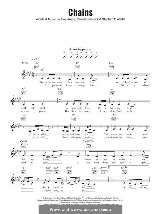 Chains (Tina Arena): Melody line by Pamela Reswick, Steve Werfel